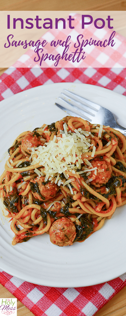 Instant Pot Sausage and Spinach Spaghetti
