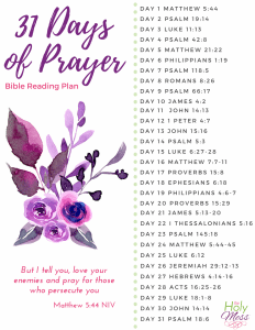 31 Days of Prayer Bible Reading Plan printable